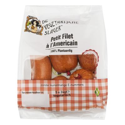 De Vegetarische Slager Petit filet à l'Americain 5x24g *THT 18.12.2018*
