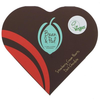 Bean And Pod Dark Strawberry Cream Hearts  44g